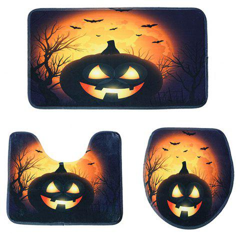 Halloween Pumpkin Series Toilet Mat Three-Piece Non-Slip Absorbent Bathroom Mat - GOLDEN BROWN PACK OF 3