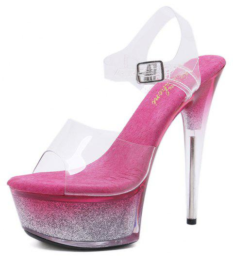 Open Toe Cross Bandage Women's 15cm High Heel Pointed Stiletto Shoes - ROSE RED EU 37