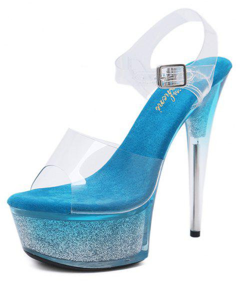 Open Toe Cross Bandage Women's 15cm High Heel Pointed Stiletto Shoes - DAY SKY BLUE EU 40
