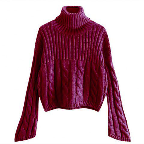 Women's Long Sleeved Turtleneck Sweater - RED WINE ONE SIZE
