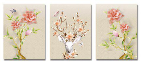 DYC 3PCS Beautiful Flowers Deer Print Art - multicolor
