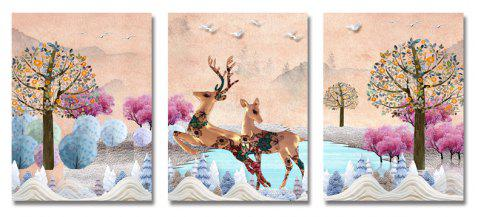 DYC 3PCS Deer Running in The Forest Print Art - multicolor