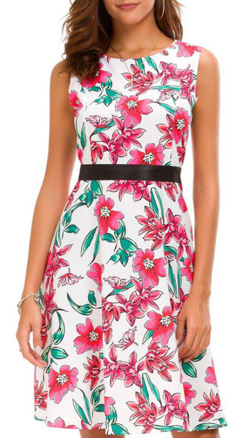 Waist Printed and Thin Printed Dress - DEEP PINK L