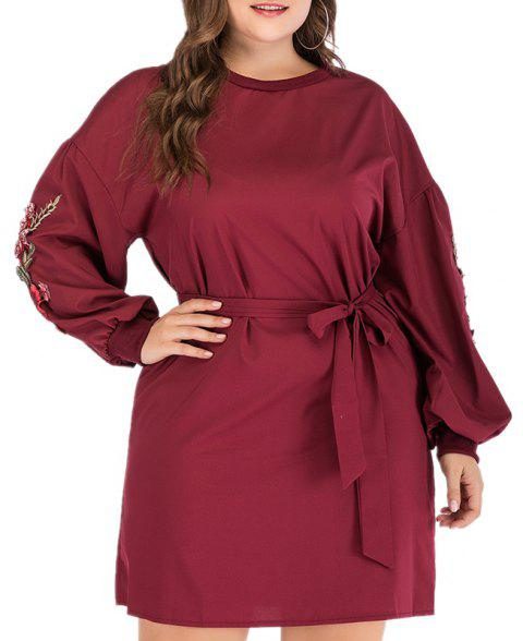 Round Necktie Embroidered Dress - RED WINE 3XL