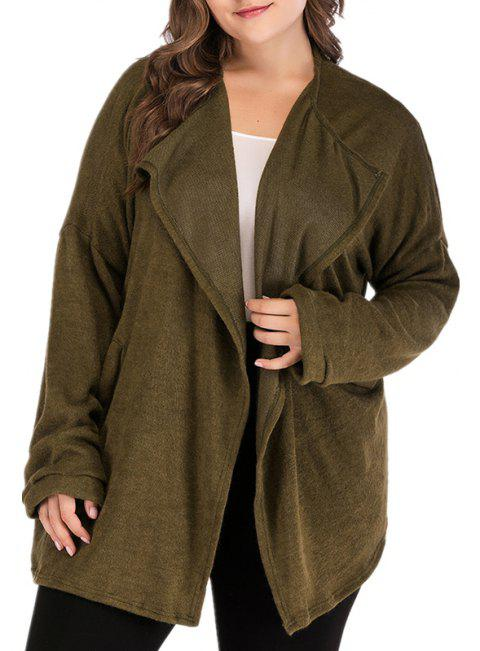 Army Green Cardigan Long Sleeve Sweater Coat - ARMY GREEN 3XL