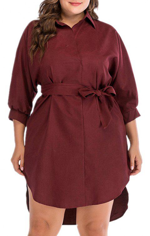 High Waist Lace Seven Point Sleeve Dress - RED WINE 3XL