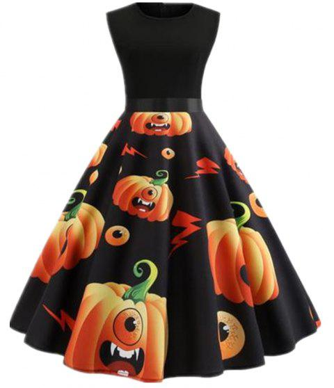 Halloween Stitching Waist Waist Pendant Dress - BLACK XL