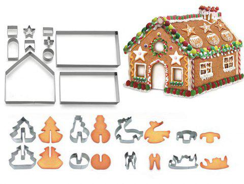 3D Christmas Gingerbread House Mold Cookie Cutter Set Gift Box Packaging 18PCs - SILVER