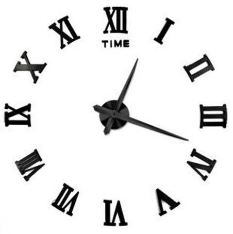 DIY 3D Wall Clock Silent Frameless Roman Numerals - BLACK