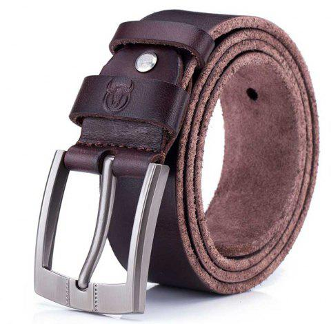 The First Layer of Leather Soft Men's Youth Business Casual Pin Buckle Belt - CHESTNUT