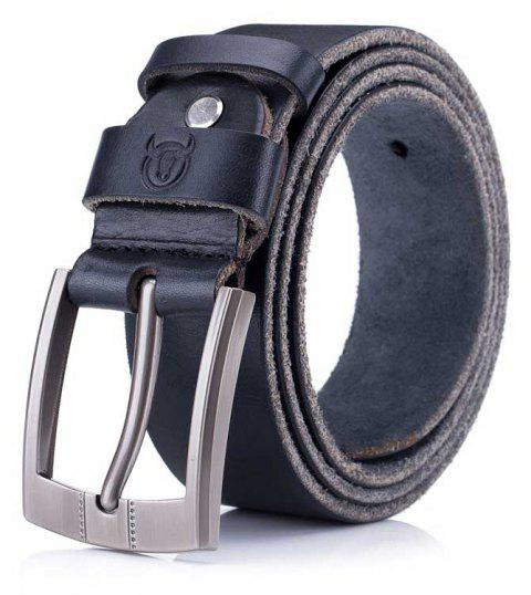 The First Layer of Leather Soft Men's Youth Business Casual Pin Buckle Belt - BLACK