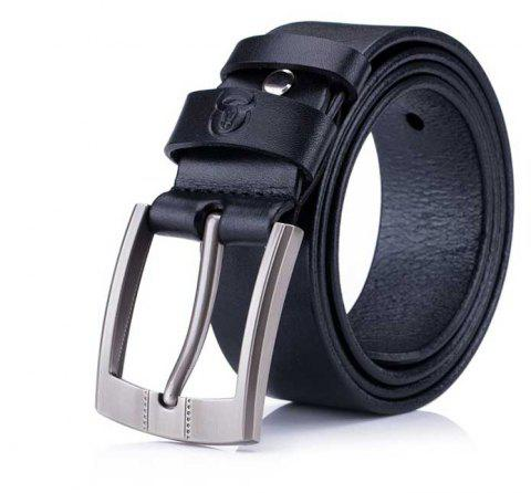 The First Layer of Leather Soft Men's Youth Business Casual Pin Buckle Belt - GRAPHITE BLACK