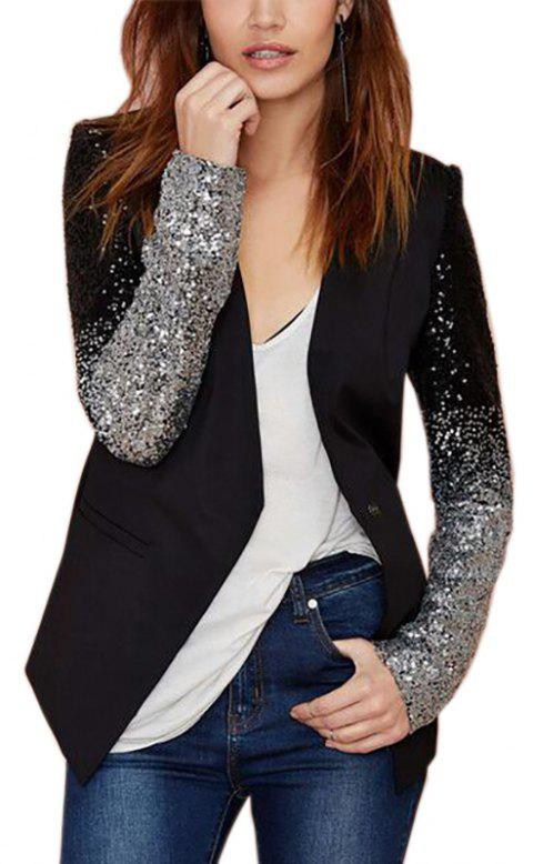 Women's Autumn Oversize Slim Fit Bodyconr Suit Coat Sequin Jacket Blazer - BLACK S
