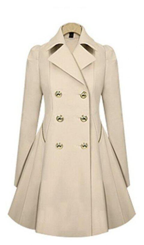 Women's Double Breasted Jacket Trench Coat - BEIGE L