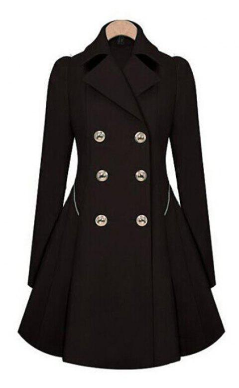 Women's Double Breasted Jacket Trench Coat - BLACK 2XL