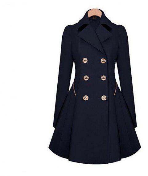 Women's Double Breasted Jacket Trench Coat - CADETBLUE S
