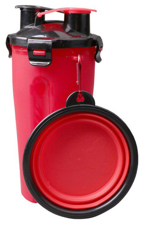 Outdoor Water and Bowl Travel Food Supplies Container Dish Cup for Cat and Dog - RED