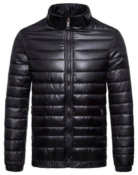 Man Coat Single Color Leisure Time - BLACK 2XL