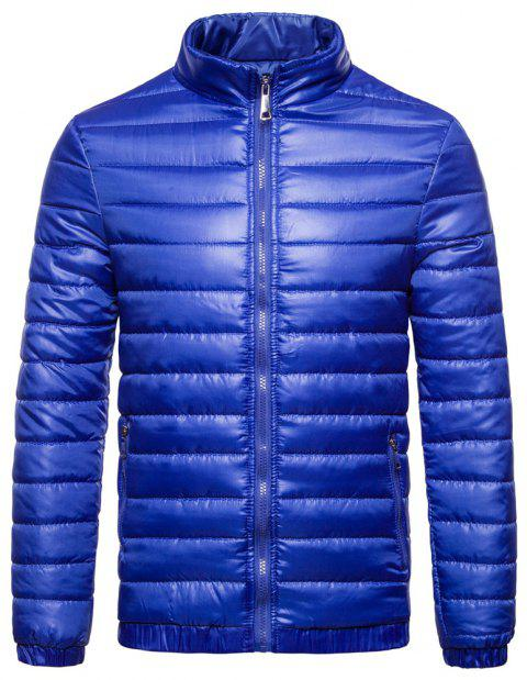 Man Coat Single Color Leisure Time - BLUE L