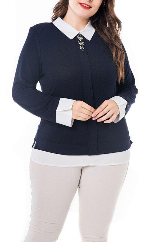 Splicing Doll Collar Long Sleeve Blouse - MIDNIGHT BLUE 5XL