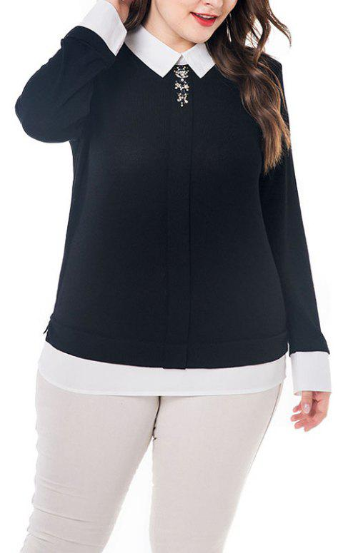 Splicing Doll Collar Long Sleeve Blouse - GRAPHITE BLACK 2XL