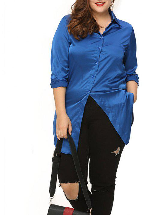 Lapel Embroidery Long Sleeve Loose Shirt - COBALT BLUE L