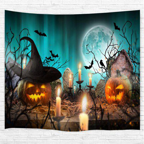 Candlestick Pumpkin 3D Printing Home Wall Hanging Tapestry for Decoration - multicolor W153CMXL102CM