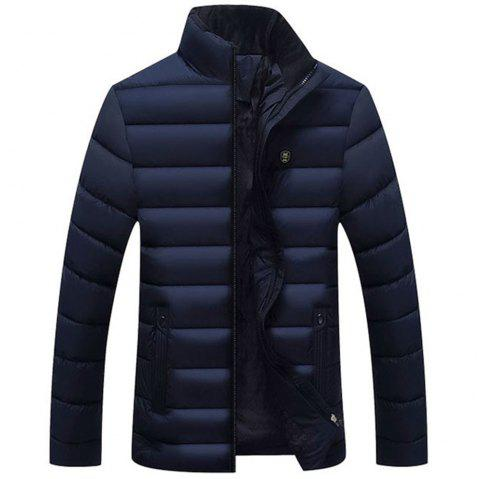 Men's Winter and Autumn Coat Warm Down Jacket  Lightweight Jacket Men - NAVY BLUE XL