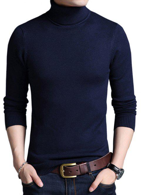 Winter Warm Turtleneck Sweaters Slim Fit Men Pullover - NAVY BLUE L