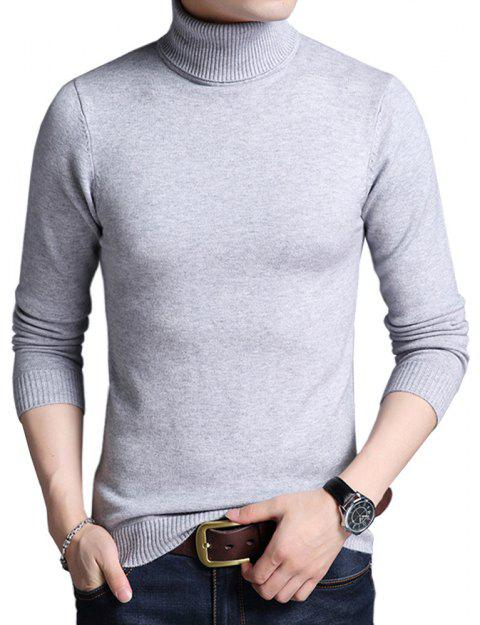 Winter Warm Turtleneck Sweaters Slim Fit Men Pullover - LIGHT GRAY L