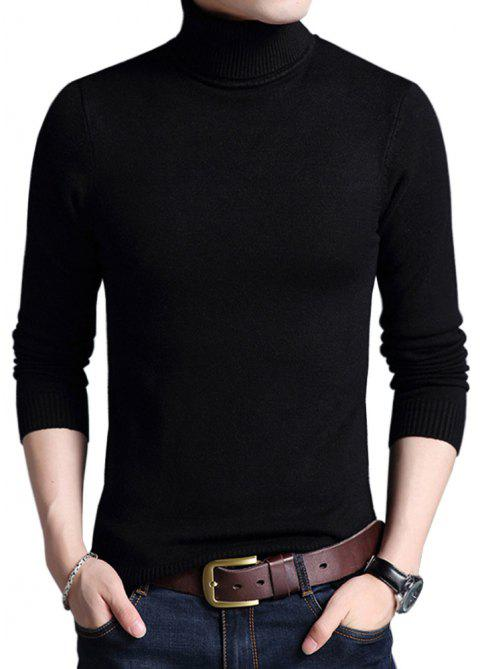Winter Warm Turtleneck Sweaters Slim Fit Men Pullover - BLACK 2XL