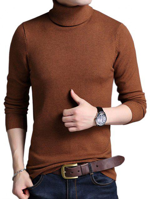 Winter Warm Turtleneck Sweaters Slim Fit Men Pullover - LIGHT BROWN 4XL