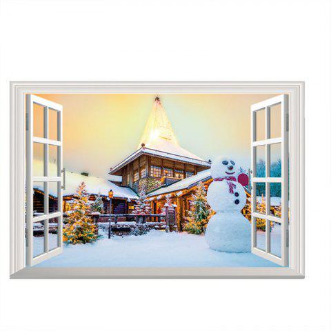 3D Christmas Removable Wall stickers DIY Sticker Paper - multicolor H