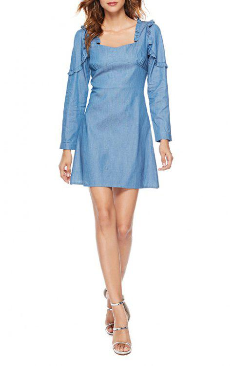 Solid Color Long-sleeved Halter Denim Dress - JEANS BLUE S