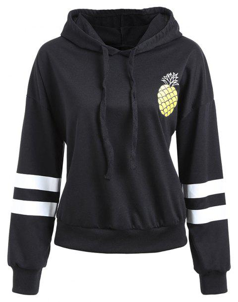 Pure Color Pineapple Print Hooded Sweater Women - BLACK M