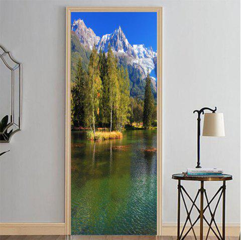MailingArt 3D HD Canvas Print Door Wall Sticker Mural Home Decor Lake Mountain - multicolor 38.5 X 200CM