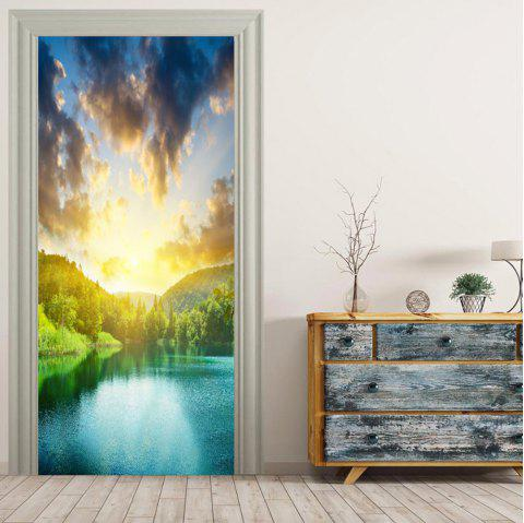 MailingArt 3D HD Canvas Print Door Wall Sticker Mural Home Decor Sunshine Lake - multicolor 38.5 X 200CM