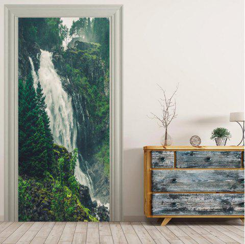 MailingArt 3D HD Canvas Print Door Wall Sticker Mural Home Decor High Waterfall - multicolor 38.5 X 200CM
