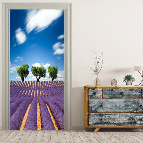 MailingArt 3D HD Canvas Print Door Wall Sticker Mural Home Decor Lavender Trees - multicolor 38.5 X 200CM