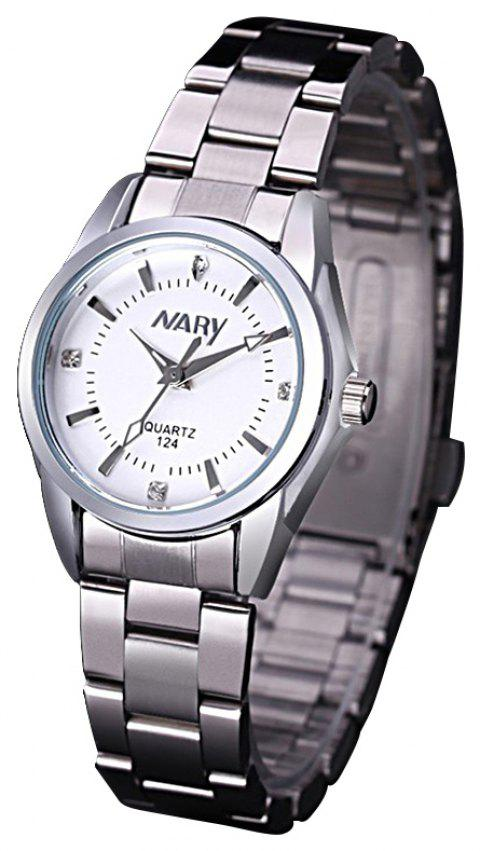 NARY Steel Belt Calendar Quartz  Ladies Watch - WHITE