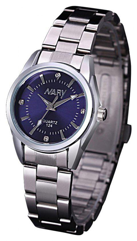 NARY Steel Belt Calendar Quartz  Ladies Watch - BLUE