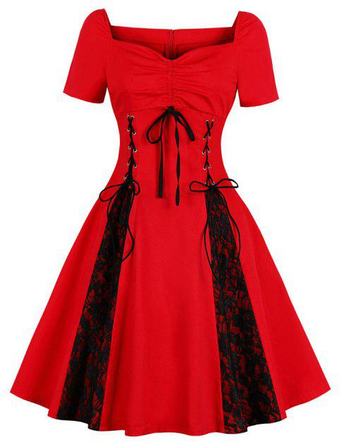 V-Neck with Short Sleeves Draw String Lace-Up Bud Silk Joining Together Dress - RED 2XL