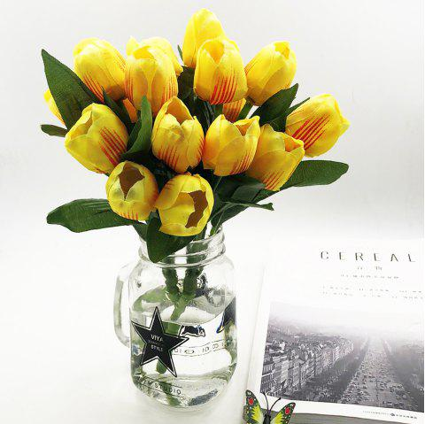 9 Heads Silk Tulip Home Decoration Artificial Flower - YELLOW