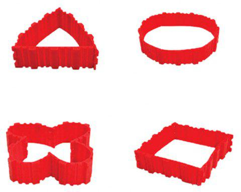 4PCS Puzzle Silicone Cake Mold Four-Piece Free Combination - RED