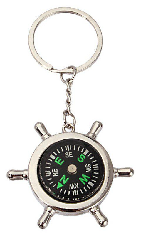 Multifunctional Utility Nautical Rudder Compass Keychain - SILVER