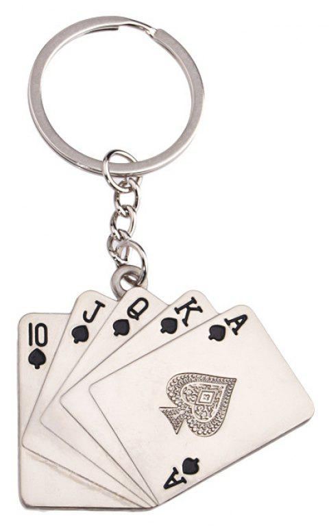 Personality Straight Flush Playing Card Key Ring - SILVER