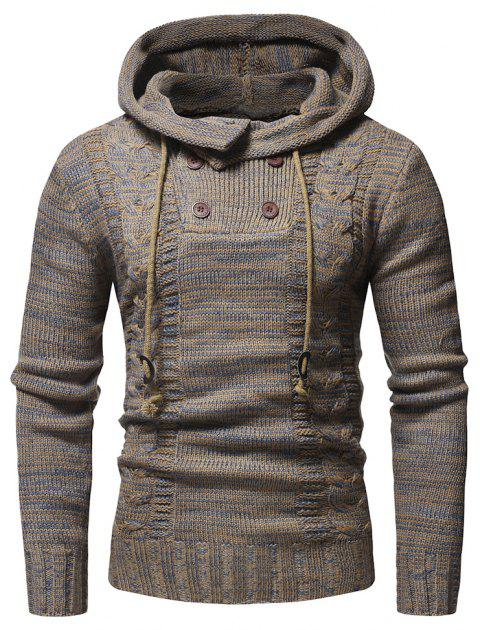 Men's Fashion Color Twist Double-Breasted Hooded Slim Knit - COFFEE M