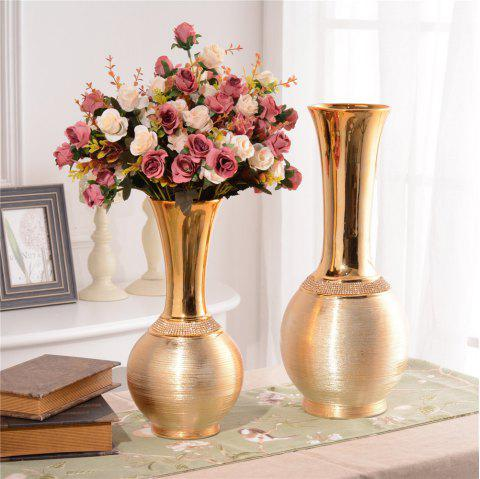 European Style Home Decorations Ceramic Electroplating Vase Table Display - GOLD M