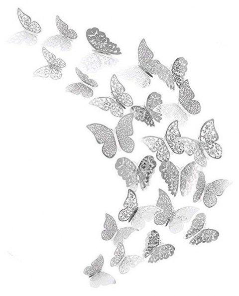 12 Pcs 3D Wallpaper Hollow Wall Stickers Butterfly - SILVER A