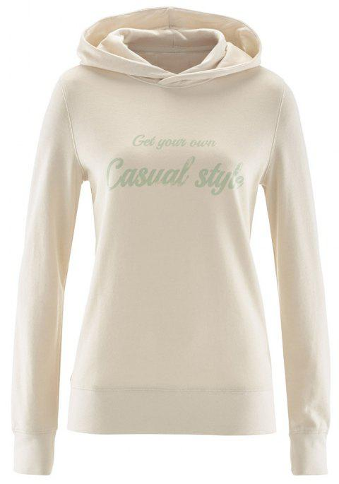 Women's Solid Color Long Sleeve Letters Print Casual Sweatshirt Hoodies Tops - WARM WHITE L